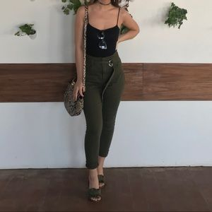 green high waisted pants with belt